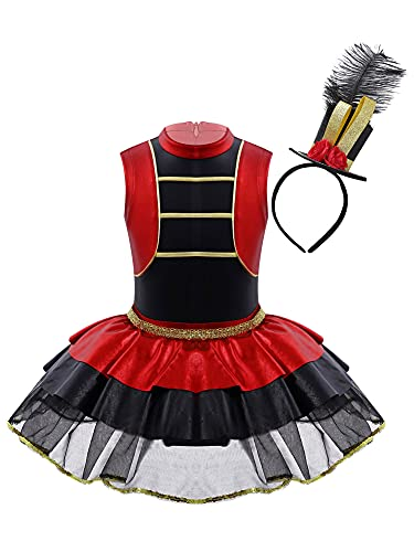 IEFIEL Vestido de Fiesta Navidad Carnaval para Nia Disfraz de Domadora de Circo de Halloween Vestido Tutu Princesa de Danza Ballet Nia 2-14 aos Rojo F 4 aos