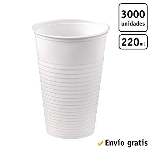 TELEVASO - 3000 uds - Vaso de plástico color blanco, de polipropileno (PP) - Capacidad de 220 ml - Desechables y reciclables - Ideal para bebidas frías como agua, refresco, zumos, té helado