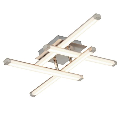 Briloner Leuchten Led-plafondlamp, plafondspot/lamp, 4-spots, woon- en slaapkamerlamp, niet-verblindend LED-staven, 20 W, 55 x 55 x 11,5 cm