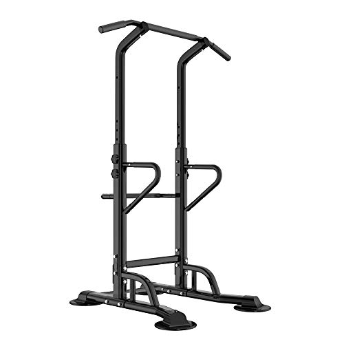 sogesfurniture Tower Adjustable Height Pull Up and Dip Station Multi-Function Home Strength Training Fitness Workout Station Sturdy Chin-Up Bar Stand Dip Station, BHCA-PSBB002-N