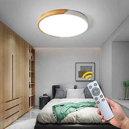 NEWSEE Lámpara LED de techo con mando a distancia moderna regulable para salón de color blanco frío hasta blanco cálido para habitación de los niños para comedor dormitorio pasillo (blanco 40cm 24W)