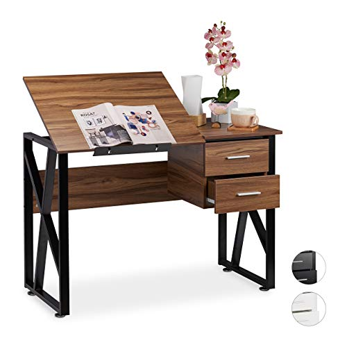 Relaxdays reclinable, Mesa Ajustable, Escritorio de Dibujo, 75x110x55 cm, Marrón, Aglomerado, Hierro, Holz-Schwarz, 75 x 110 x 55 cm
