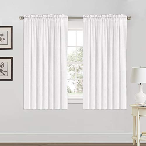 "Natural Rich Linen Curtains Semi Sheer for Bedroom/Living Room/Dining | Rod Pocket Textured Flax Window Curtain Drapes Privacy Added Light Reducing Soft Curtains 2 Panels (Off White, 52"" W x 63"" L)"