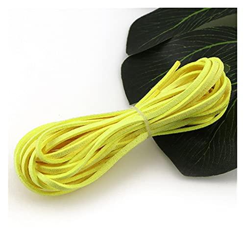 BOSAIYA PJ 20 Yardas 3 mm Flat Faux Gamuza cordón Trenzado Coreano de Cuero de Terciopelo Bricolaje Pulsera de Abalorios Hechos a Mano Joyas Que Hace Cuerda de Cuerda de Hilo TL811 (Color : 10)