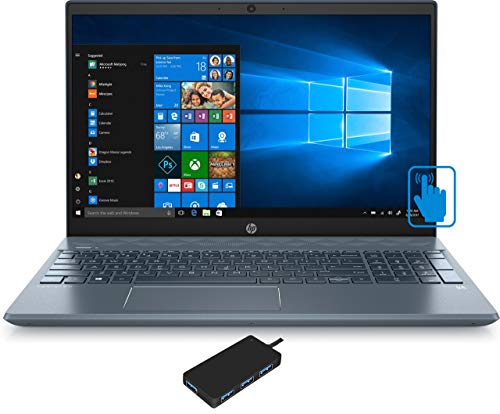 "HP Pavilion - 15-cs3073cl Home and Business Laptop (Intel i7-1065G7 4-Core, 64GB RAM, 7.6TB SATA SSD, NVIDIA MX250, 15.6"" Touch Full HD (1920x1080), WiFi, Bluetooth, Webcam, Win 10 Pro) with USB Hub"