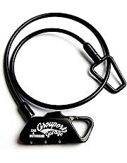 Grouportgarage ヘルメットロック メットロック Φ4x500mm ワイヤー ダイヤルロック バイク ヘルメット 鍵 カギ (Φ4x500mm, 黒)