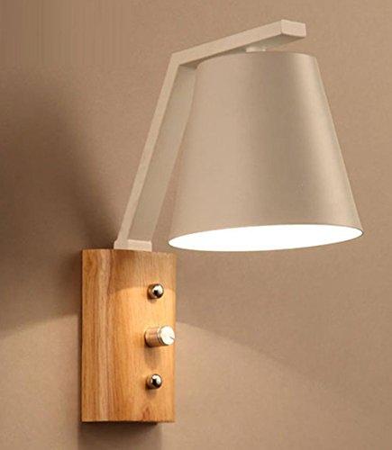 La lampe de mur menée créative de chambre à coucher en bois de lampe de chevet de chambre à coucher simple coulent la lampe de mur en bois, aucune ampoule de récipient