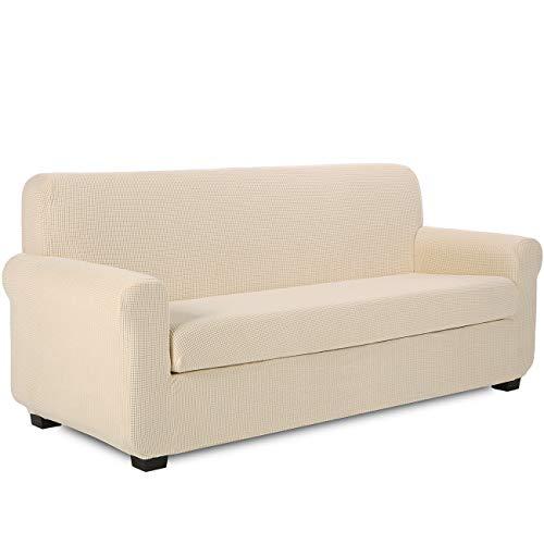 TIANSHU Funda Sofa 3 Plazas,2-Piezas Jacquard poliéster Funda de Sofá 3 Plazas elasticas Suaves Resistentes(3 Plazas,Marfil)