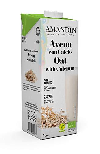 Amandin Bebida de Avena con Calcio - Paquete de 6 x 1000 ml - Total: 6000 ml