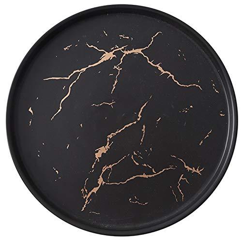 Bayda Plato de CeráMica de MáRmol Negro Dorado de 20 Cm Juego de Cubiertos de Porcelana Mesa de Cocina Plato de Filete Postre Decorativo Europeo