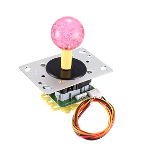 uxcell Joystick Control Stick Rocker Switch 10 Pin 4/8 Way Transparent Pink Ball Top Handle DIY Parts Classic Arcade Game Competition