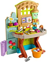 Two-sided, garden-to-kitchen playset with 30+ play pieces, colorful lights, music and learning content for fresh pretend play Smart Stages learning content changes as baby grows and teaches the alphabet, numbers, colors, shapes, opposites, healthy ea...
