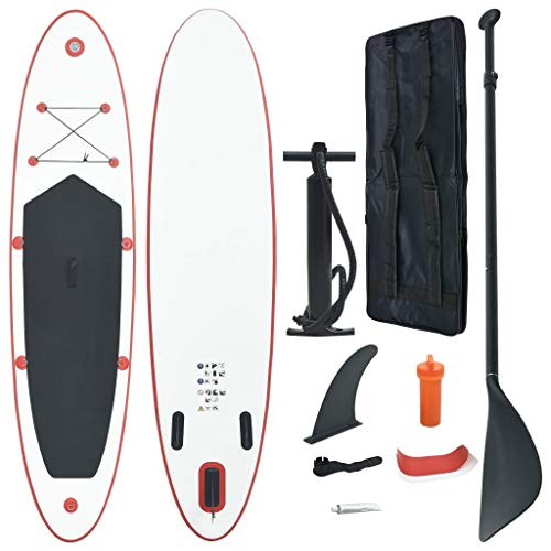 Benkeg Set De Tabla Inflable De Paddle Surf Sup Rojo Y Blanco 360 X 81 X 10 Cm, 100 Kg, Tabla De Paddle Surf Resistente A Las Perforaciones Y A Los Rayos UV