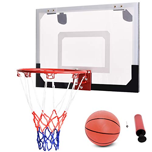 COSTWAY Basketballkorb Basketball-Set Backboard Basketball Basketballboard Basketballbrett Basketballring mit Ring und Netz für Büro Spiel Kinder