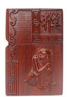 に適用するZippo(ジッポー)ライターモジュール用の天然ローズウッド彫刻シェルボックス(干支のモンキー)