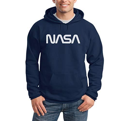 Shirtgeil NASA Vintage Logo Galaxy Stampa Retro Outfit Felpa con Cappuccio da Uomo Large Blu
