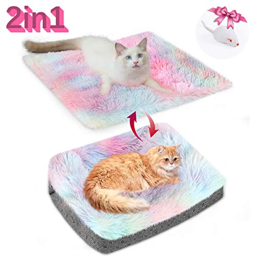 Chintu Cat Beds for Indoor Cats Machine Washable Cat Bed Mat Self-Warming 2-in-1 Pet Beds for Medium Small Dogs Plush Fluffy Dog Bed Faux Fur Cat Cushion Bed with Anti Slip Bottom Bed Mats