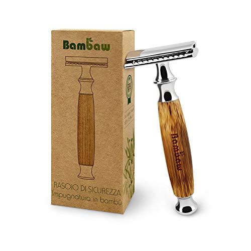 Rasoio di sicurezza a doppio filo con impugnatura lunga in bambù naturale | Alta qualità | Sostenibile e durevole | Compatibile con tutte le lamette da barba doppio filo | Bambaw