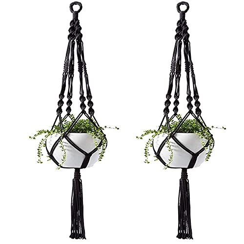 DFSMG Indoor Outdoor Hanging Flowerpot Basket Cotton Rope Garland Plant Stand (Color : Black)