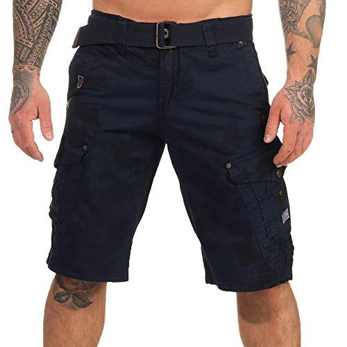 Geographical Norway Short cargo Panoramique pour homme avec ceinture et poches latérales, Camouflage bleu marine., M