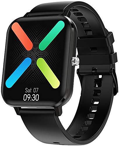 jpantech Smartwatch 1,75''HD Touch-Farbdisplay Fitness Armbanduhr ,Bluetooth-Anruf,Smartwatch Schrittzähler,Schlafmonitor,Stoppuhr für Damen Herren(Black)