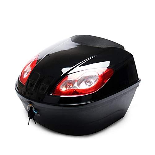 GIAOGIAO Caja de Cola de Gran Capacidad Scooter eléctrico Tronco Motocicleta Caso Duro Casco Caja de Almacenamiento Caja de Equipaje con lámpara Reflectante (Color : Black)