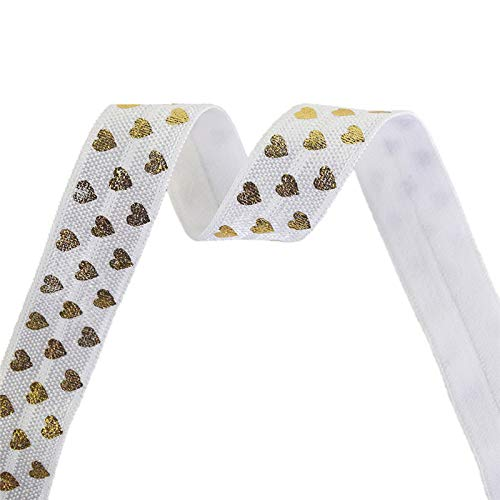 NHFVIRE 2 5 10 Yard 5/8' 15Mm Love Heart Foil Print Fold Over Elastics Spandex Bands Tape Hair Tie Headband Sewing Trim White 2 Yards