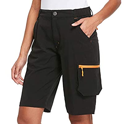 BALEAF Women's Hiking Cargo Shorts Quick Dry UPF50+ Multi Pocketed Shorts Water Resistant for Camping, Travel Black L
