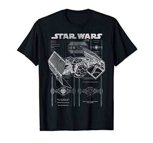 Star Wars TIE Fighter Blueprint Schematics Maglietta