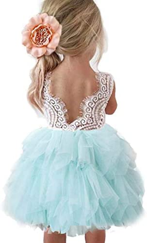 Topmaker Backless A line Lace Back Flower Girl Dress 4T Mint product image