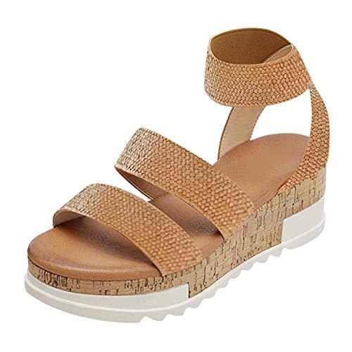Luckycat Sandalias Mujer Plataforma Verano 2021 Vintage Zapatos de Plataforma Planos Tejidos de Paja Rome Plus Size Sandals Vestir Sandalias