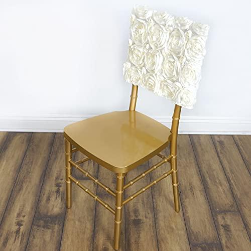 BaiJaC Tischtücher, 10 stücke Rote angehobene Rosen Square Top Stuhl Caps deckt Slipcover für Hochzeitsempfangsdekorationen ab (Color : Ivory)