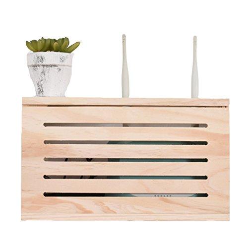 Router Aufbewahrungsbox an der Wand montiert Top-Box Abschirmbox elektrische Box Dekoration Box Aufbewahrungsbox Aufbewahrungsbox frei Stanzen ( Color : WOOD COLOR , Size : 39.6*8.6*21.6CM )
