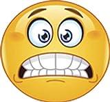 Scared Emoji Face Yikes Nervous Smile Vinyl Sticker (4' Wide)