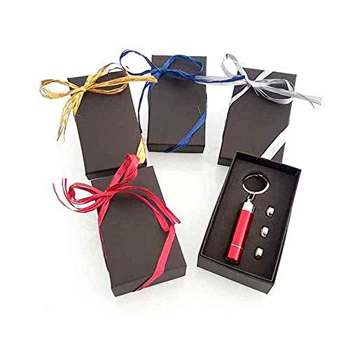 Lote 10 unidades llavero linterna led en aluminio en caja de regalo con rafia y tarjeta personalizada. Regalos para eventos para ellos.