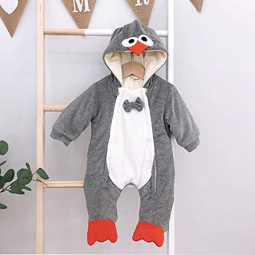 JJAIR Unisex-bebé pingüino Franela Romper, Animales Onesie Trajes Pijamas de Dibujos Animados Traje Traje General Homewear,4,80