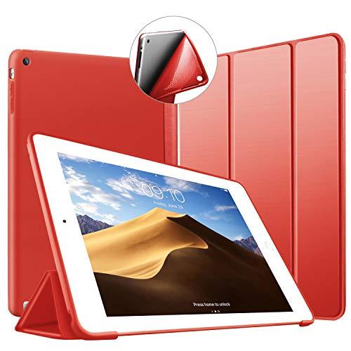 VAGHVEO Funda para iPad 2/3 / 4, Ultra Slim Protectora Silicona Smart Cover [Auto-Sueño/Estela] Cubierta Trasera de Silicona Suave TPU Case para Apple iPad 2, iPad 3, iPad 4 Tableta, Rojo