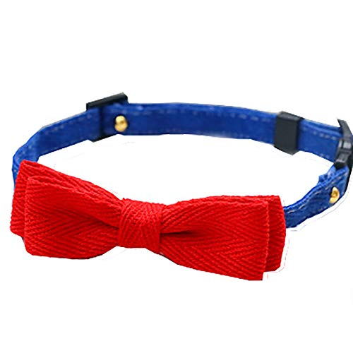 OHHCO Cats Handmade Cloth Collar Safe Adjustable Cute Collar with Insect Repellent Clip for Down 54cm Neck Circumference Pets,Red M