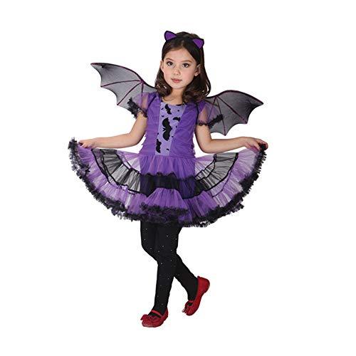 T-XYD Batgirl Jurk Kids Batgirl Kostuum Kinderen, Halloween Cosplay Meisje Stage Prestaties Kleding Lass Fancy Jurk Outfit 3-12 Jaar