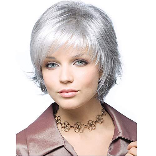 Plateado blanco degradado gris pelo corto y liso,31 cm, cabello natural, fibra química seda de alta temperatura, peluca utilizada por mujeres para vestirse a diario