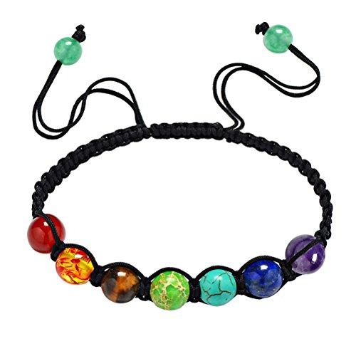 HIJONES Unisex Schmuck 7 Chakra Perlen Regenbogen Stein Gebet Gleichgewicht Heilende Energie Armband