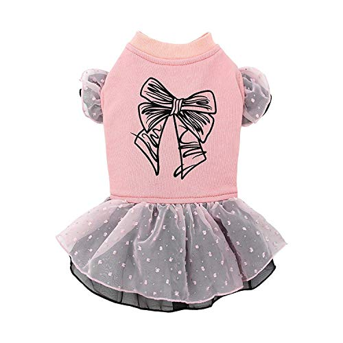 Puppy Face Cute Dog Dresses for Pet Clothes Bowknot Printed Pink Skirt Dog Shirt Apparel Small