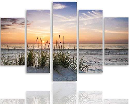 HJYJJ Canvas väggkonst – betalning Herbe Plage, Eau MER, Sable Ciel – 5 delar panel 150 x 80 cm inramad, HD-tryck 5 panel väggkonst bilder klassisk XXL bild modulär kontor modern heminredning gåva