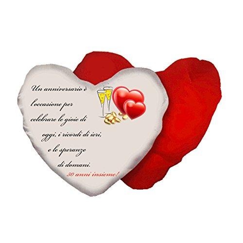 Cuscino a Forma di Cuore con Scritta Anniversario Matrimonio 50 Anni Idea Regalo