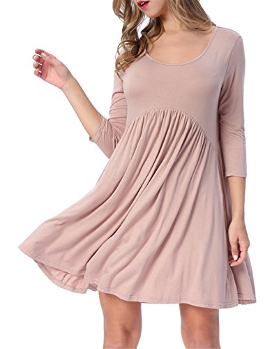 LAINAB Womens Summer O-Neck Pleated Loose Swing Casual Skater Dress Khaki XL