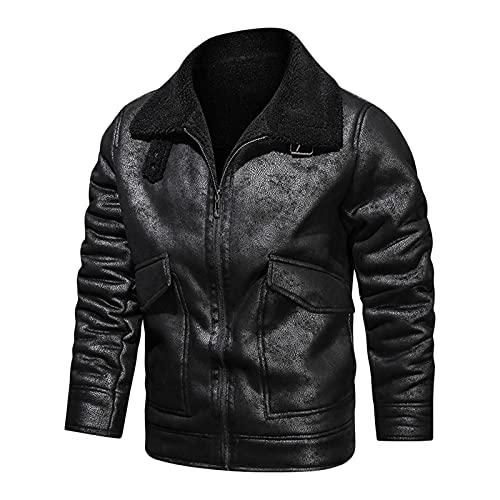 URIBAKY - Giacca da motociclista per autunno e inverno, casual, con zip, collo alto, tasca in pelle, giacca da motociclista, taglia grande, Le Noir, XXXL