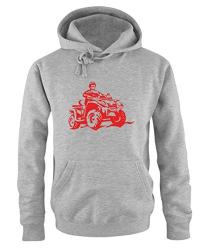 Comedy Shirts - Quad ATV - Herren Hoodie - Grau/Rot Gr. 5XL