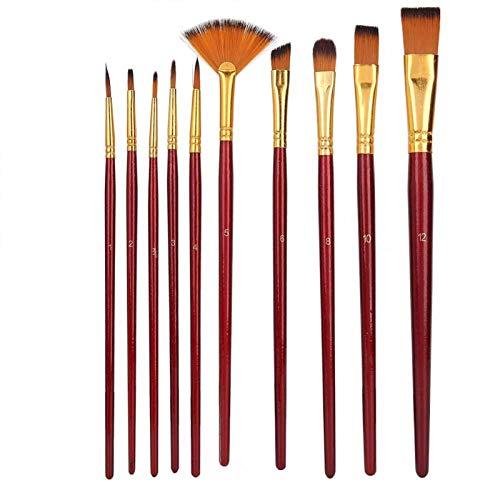 Juego de pinceles de pintura de nailon para el cabello, 10 piezas, kit de pinceles de dibujo para pintura acrílica para estudiantes(Red wine)