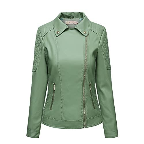 TDEOK Chaqueta de piel cálida de manga larga con bolsillo con cremallera para mujer, abrigo con cremallera diagonal, abrigo corto punk de nueve puntos, verde, M