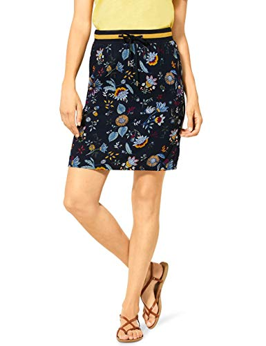 Cecil Damen 360648 TOS Flower Skirt Rock, deep Blue, Medium